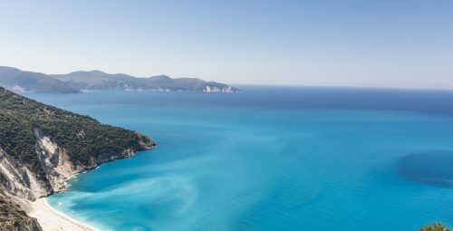 Myrtos is the most popural of the beaches in the Greek island of Kefalonia.